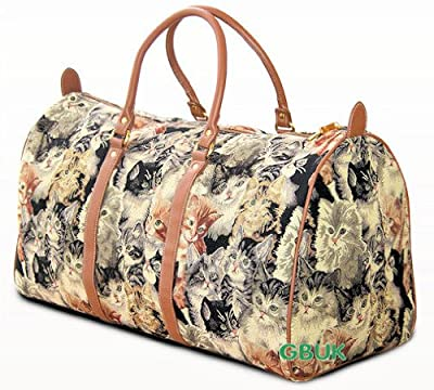 Tapestry Weekend Holdall/Luggage Bag/Travel Bag (large) Cats - Gobelin Style