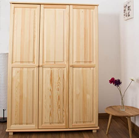 Wardrobe solid natural pine wood 016 - Dimensions 190 x 133 x 60 cm (H x B x T)