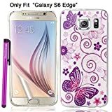 Galaxy S6 Edge Case, BeeShine® Retail Package [Pink Flower Purple Butterfly Pattern] Slim-fit  Galaxy S6 Edge  Soft Rubber Skin TPU Gel Case Cover W/ LCD Film Screen Protector & Touch Stylus For Samsung Galaxy S6 Edge (SM-G925)