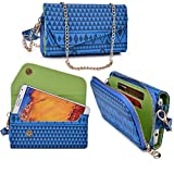 Women's Wristlet Clutch Fly IQ458 Evo Tech 2 with Credit Card Holder & Removable Crossbody Chain| Tribal Aztec Mayan Pattern| Steel Blue Navy Blue Lime Crime + ND Cable Tie