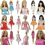 Yiding 15 Items=5 Set Handmade Mini Dresses Clothes 5 Shoes 5 Hanger for Barbie Doll (Ship From China with Tracking No.)