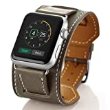 Valkit for Apple Watch Band - iWatch Bands 38mm Genuine Leather Strap Smart Watch Band Bracelet Replacement Wristband with Stainless Steel Adapter Metal Clasp for Apple Watch 3 2 1, Cuff - Brownness (Color: Cuff-(Brownness), Tamaño: 38 mm)