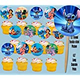 Lilo and Stitch Disney Double-Sided Cupcake Picks Cake Toppers -12 pcs