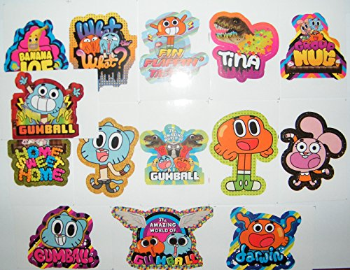 The Amazing World of Gumball Party Favor Toy Sticker Set of 15 with Gumball, Darwin, Banana Joe, Tina the T-Rex and many more!