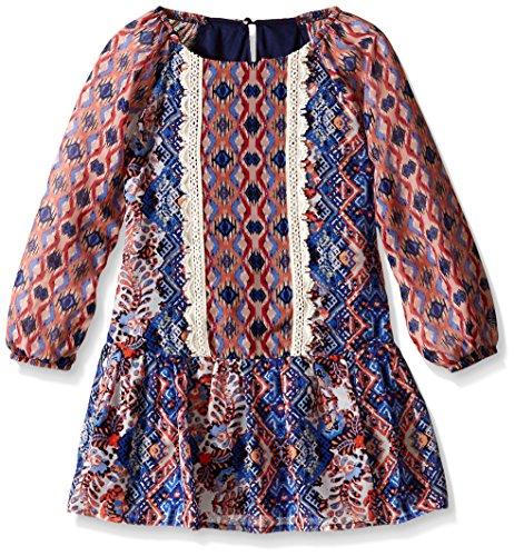 Speechless Little Girls' Dress Knee Length Long, Blue/Orange, 6X