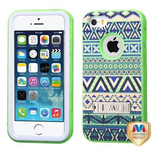 Cell Accessories For Less (Tm) Apple Iphone 5S/5 Forest Tribe/Electric Green Verge Hybrid Case Cover Stand + Bundle (Stylus & Micro Cleaning Cloth) - By Thetargetbuys