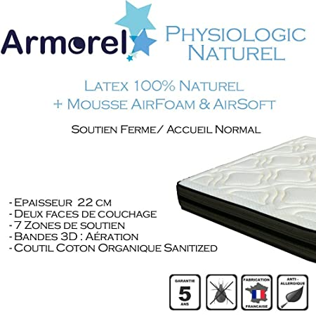 Armorel MAPN120/200 Physiologic Naturel Matelas Latex Perforé  Blanc 200 x 120 cm