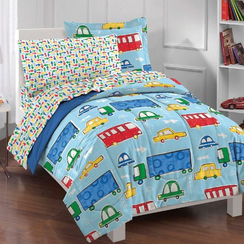 Traffic Trucks Cars Boys Blue And Red 5-Piece Twin Comforter Sheet Set