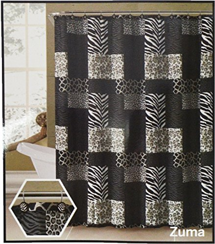 Fabric Shower Curtain and 12 Piece Resin Shower Hooks: Animal Safari Print (Black Gray and Taupe)