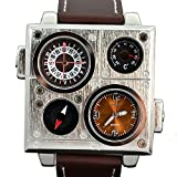 Oulm HP9937 Square Military Army Men Boys Sport Dual Time Compass Thermometer Quartz Movt Wrist Watch