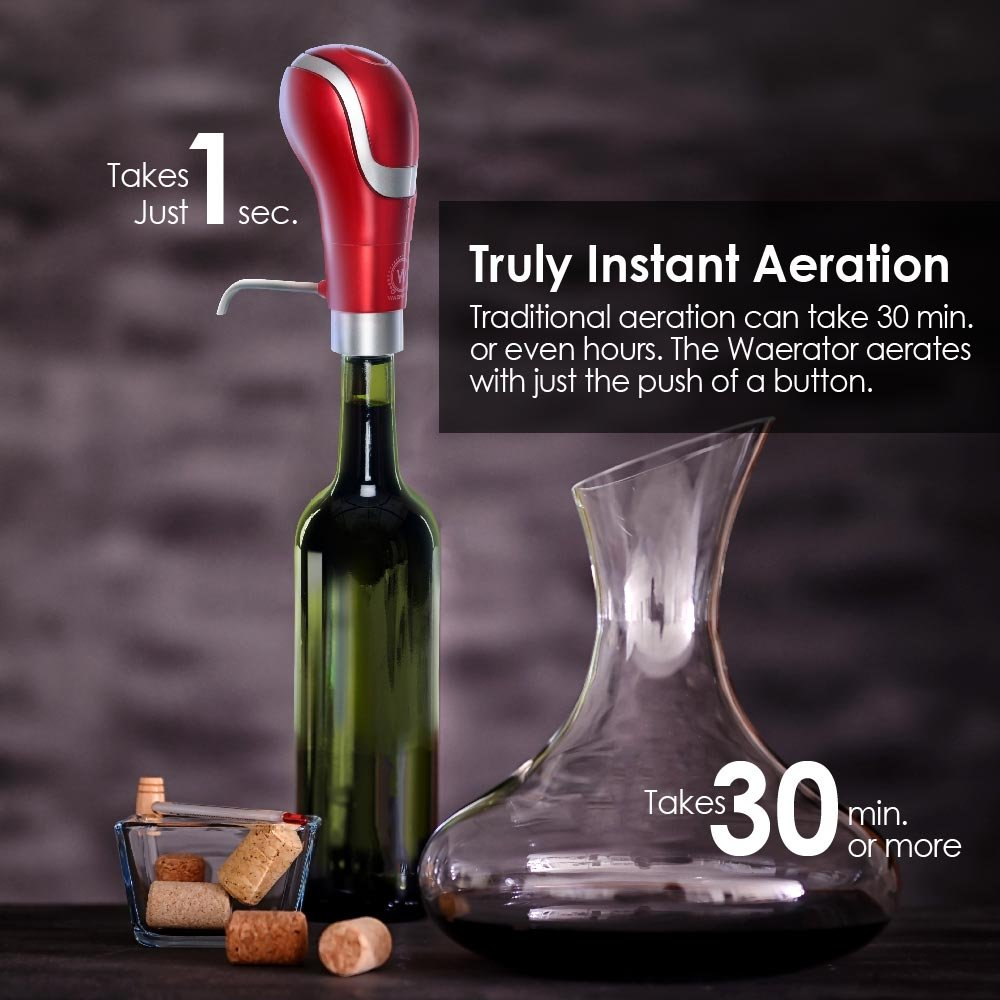 Instant 1-Button Aeration and Decanter WAERATOR Electric Wine Aerator: Enhance Wine Flavor of all Ages; Convenient Spout (Red)