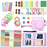 Fujifilm Instax Mini 8 Accessories, Leebotree 10 in 1 Camera Bundles Set Include Camera Case/Album/Selfie Lens/Colored Filters/Wall Hang Frames/Film Frames/Border Stickers/Corner Stickers/Pen(Pink)