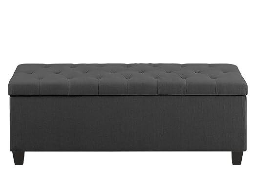 Bank Polster Sitzbank mit Aufbewahrung 120 x 45 x 45 Webstoff Stoff Grau Holzbeine Lack Schwarz