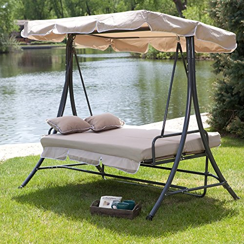 Coral Coast Lazy Caye 3 Person All-Weather Swing Bed with Toss Pillows - Cappuccino