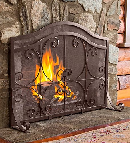 Cheap Small Crest Flat Guard Fireplace Screen, in Copper