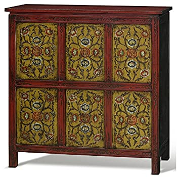 China Furniture Online Elmwood Cabinet, Hand Painted Floral Motif Tibetan Style High Chest Distressed Yellow and Red