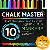 Chalkmaster® Liquid Chalk Markers - Huge 10 Color Liquid Chalk Premium Artist Quality Marker Pen Set + 6 FREE Additional 6 mm Reversible Chisel to Bullet Point Tips - 100% Satisfaction Guarantee