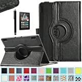 Kindle Fire HDX 7 Case - ULAK 360 Rotating PU Leather Case Cover for Amazon Kindle Fire HDX 7 Inch 2013 Gen with Smart Cover Auto Wake/Sleep Feature and Stylus, Black