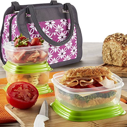 Fit & Fresh Ashland Lunch Bag Kit with Reusable Container Set and Ice Pack, Orchid Dogwood - 1