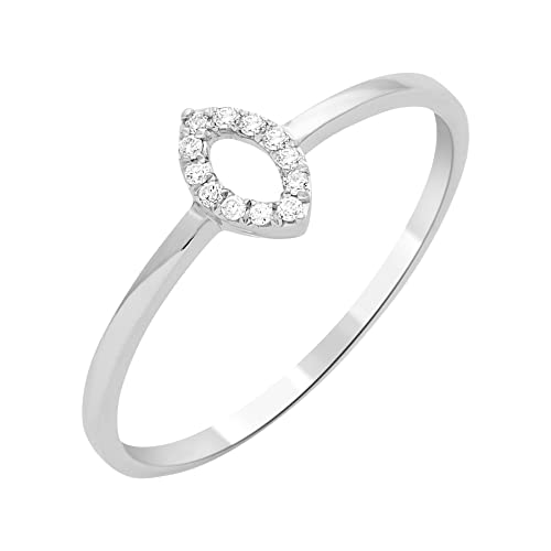 Miore Ring Necklace 9 ct White Gold 0.05 ct Diamond-of-MF9089R8 T58 Set