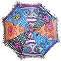 Sonnenschirm 65 cm mit Stickereien Mehrfarbig Bunt Baumwolle Schirm Accessoire von indischerbasar.de bei Gartenmöbel von Du und Dein Garten