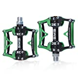 TRADE® 3 Bearing Road Mountain Bike Platform Pedals Flat Sealed Lubricate Bearing Axle 9/16 Inch-Green (Color: Green)
