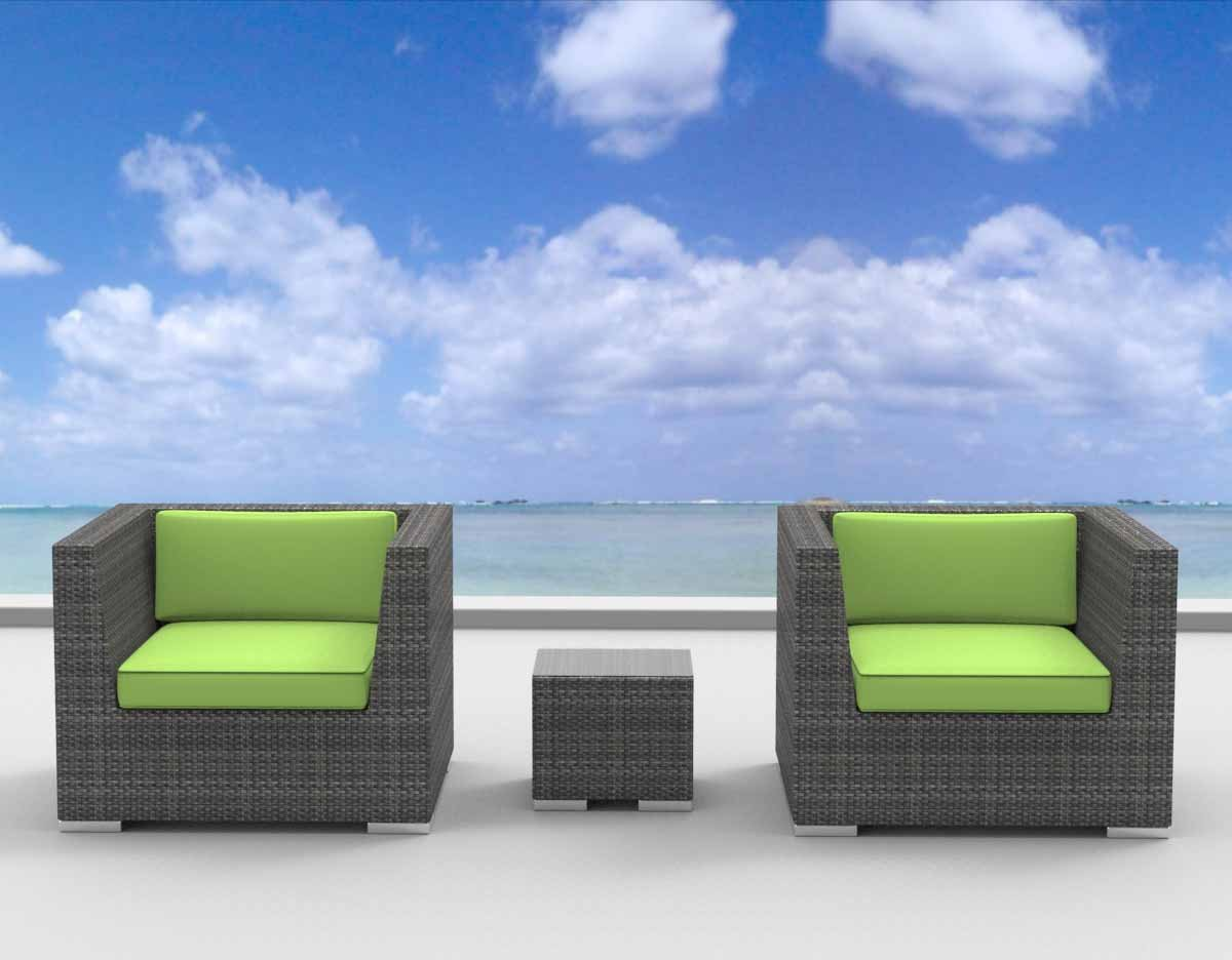 www.urbanfurnishing.net Urban Furnishing - St. Croix 3pc Modern Outdoor Backyard Wicker Rattan Patio Furniture Sofa Chair Couch Set - Lime Green at Sears.com