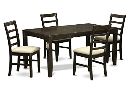 East West Furniture LYPF5-CAP-C 5-Piece Dining Table Set, Cappuccino Finish