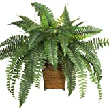 Nearly Natural 6549 Boston Fern with Wicker Decorative Silk Plant, Green