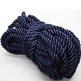 U Pick 10yds 5mm Decorative Twisted Satin Polyester Twine Cord Rope String Thread Shiny Cord Choker Thread (04:Deep Blue) (Color: 04:Deep Blue, Tamaño: 5mm)