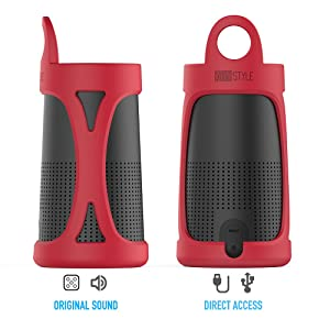AhaStyle Silicone Carrying Case Cover for Bose SoundLink Revolve Portable(Red) (Color: Red)