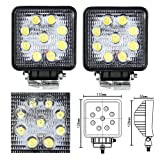 Masione LED FLOOD Square Work Light Road 12v/24v Truck 4x4 Boat Jeep SUV Lamp (2 Pack, 27W Square, Flood Beam)
