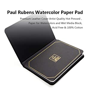 Paul Rubens Watercolor Paper Block, Premium Leather Cover Artist Quality Hot Pressed Paper for Watercolors and Wet Media Block, Acid Free & 100% Cotton, 10.63 x 7.68 inches, 140lb, 20 Sheets (Black) (Color: Block Cover, Tamaño: 10.63 x 7.68)