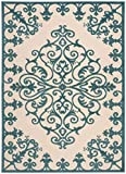 Blue Rug Indoor/Outdoor Textured Carpet, 7-Feet 10-Inch by 10-Feet 6-Inch Stain Resistant Wrought Iron Design