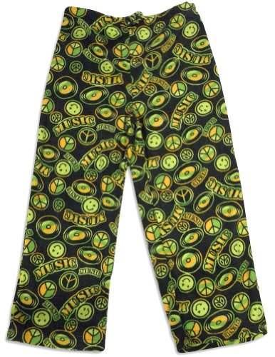 Bee Odd - Little Boys Bobbo Music Cozy Fleece Pajama Pant, Black 25515-Small front-63576