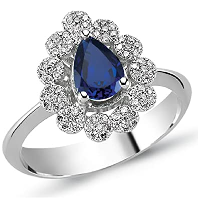 1.10 Carats 18k Solid White Gold Blue Sapphire and Diamond Engagement Wedding Bridal Promise Ring Band