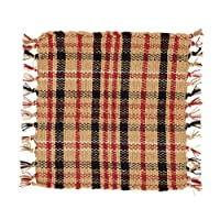 Country Style Rustic Red, Black, Tan, White Rib Weave Coaster Set of 4; 4x4