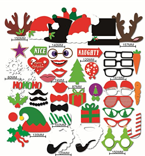 Happy Christmas Photo Booth Props Sticks 50 Pieces, Holiday Day Decoration Santa for Party Supplies - DIY REQUIRED (Italian Photo Prop compare prices)