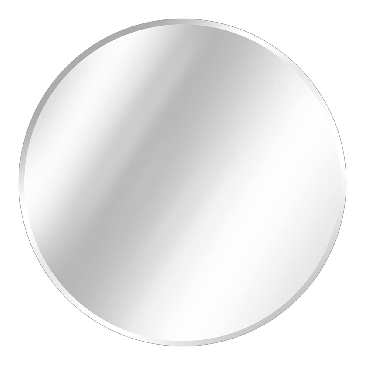 Round Beveled Polished Frameless Wall Mirror With Hooks 36 L X 36 W
