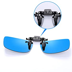 6ed61fb1623 Besgoods Mirror Polarized Clip on Flip up Metal Clip Sunglasses Lens Sports  (Color  Ice Blue