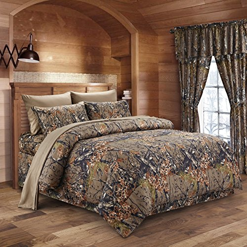 The Woods Natural Green Camouflage Full 8pc Premium Luxury Comforter, Sheet, Pillowcases, and Bed Skirt Set by Regal Comfort Camo Bedding Set For Hunters Cabin or Rustic Lodge Teens Boys and Girls (Camouflage Comforter Set Full compare prices)