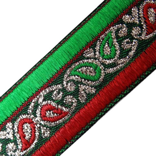 Red Green Jacquard Trim Paisley Design Border Lace Sewing Craft India 3 Yd