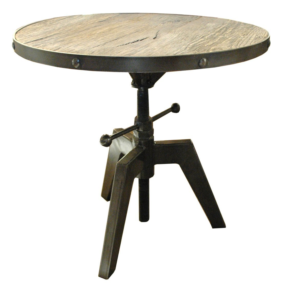 Metal End Table : ... Style Round Wood & Metal Accent Table Made from Reclaimed Wood