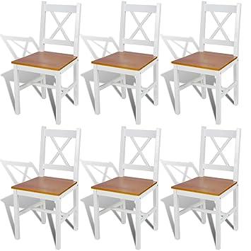 Bonace 6 sillas de comedor hechas de madera de pino (color blanco y madera natural)