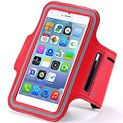 SEC Gym Sports Armband-Wrist Band-Mono Trendy and Functional Sports Armband for Large Screen Size (4.5 to 5.5 Inch) Smart Phone(Red)