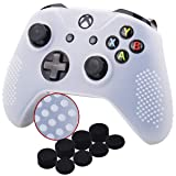 YoRHa Studded Silicone Cover Skin Case for Microsoft Xbox One X & Xbox One S Controller x 1(Clear) with Pro Thumb Grips 8 Pieces (Color: clear, Tamaño: Dots)