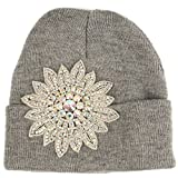 Winter Beautiful Aurora Borealis Crystal Thick Warm Knit Beanie Ski Hat Cap Gray