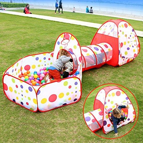 Play House Tenda Tunnel, Focusun pop up Kids Play Tenda con Tunnel and Ball Pit Indoor e Outdoor Facile pieghevole sveglio di Pois 3 in 1 playground Casa per bambini con cerniera Borsa di stoccaggio