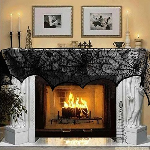 Fanala Halloween Decoration 1 Piece Black Lace Spiderweb Fireplace Mantle Scarf Cover Festive Party Supplies 45243cm (Mantle Covers For Fireplaces compare prices)