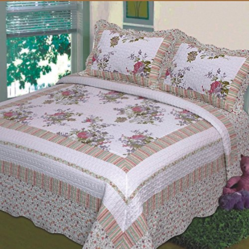 Buy Discount Fancy Collection 3pc Bedspread Bed Cover Floral Off White Green Purple Green Pink King/...